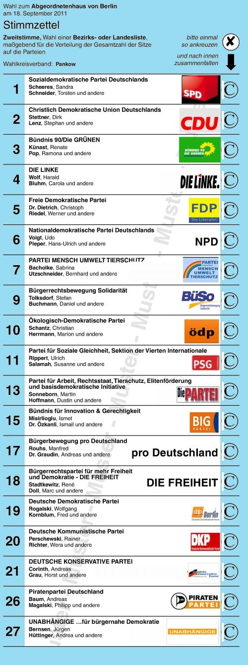 Parteien zur Abgeordnetenhauswahl