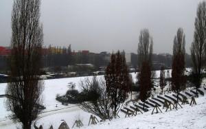 Gehörte früher zum Bezirk Wedding:  Mauerparkfläche unterhalb des Stadionhanges.