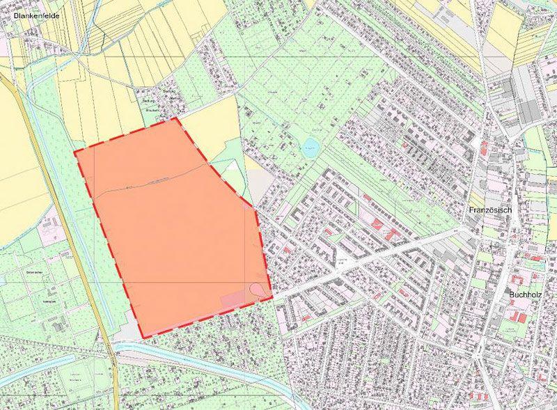 Das Gebiet des künftigen Stadtteils - Karte: Senatsverwaltung für Stadtentwicklung und Umwelt